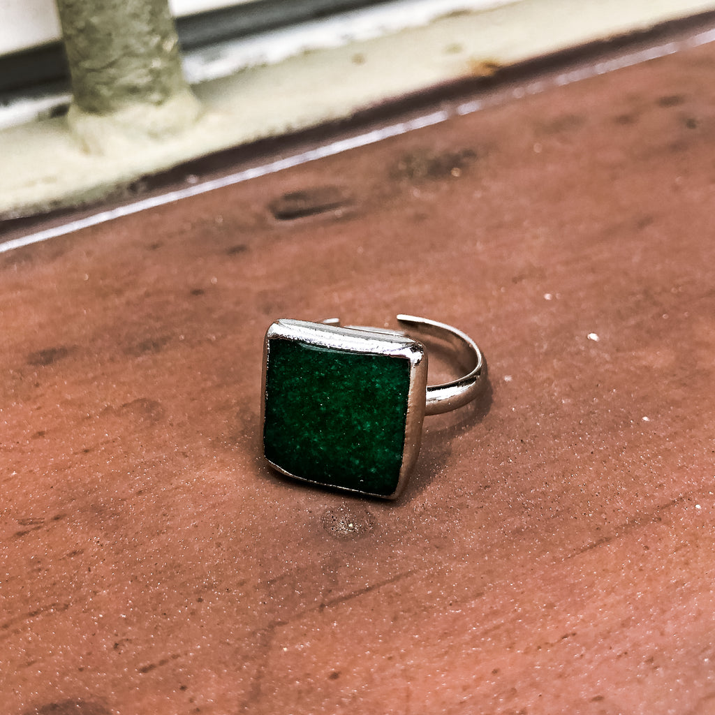 Green Jade Square Stone Ring