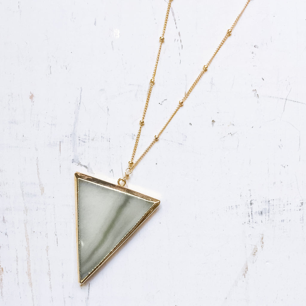 Green Agate Triangle Pendant Necklace