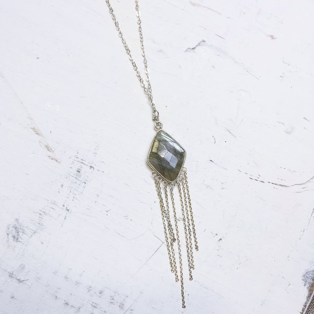 Labradorite Diamond Shaped Tassel Necklace