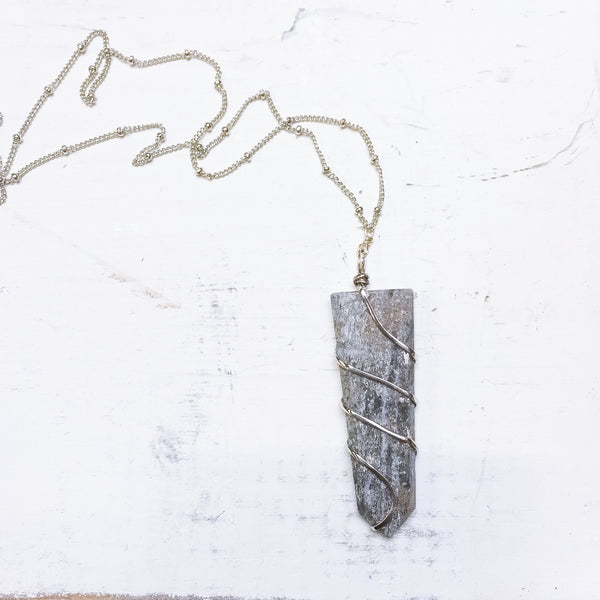 Lapis Wire-Wrapped Pendant Necklace