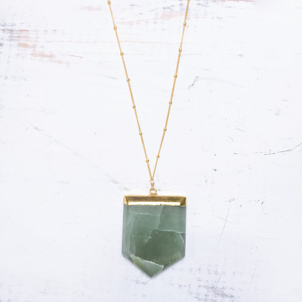 Green Aventurine Shield Necklace