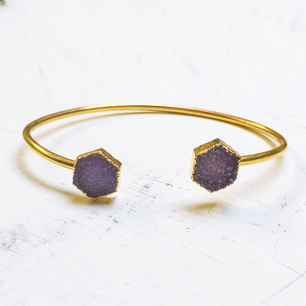 Purple Octagon Druzy C Cuff