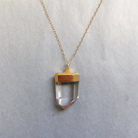 Ready Made: Gold Dipped Crystal Pendant