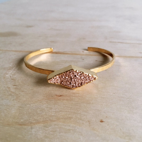 Golden Diamond Druzy Cuff Bracelet