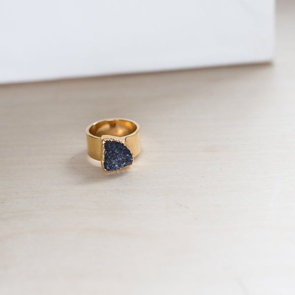 Ready Made Black Druzy Organic Triangle Ring (size 6 1/2)