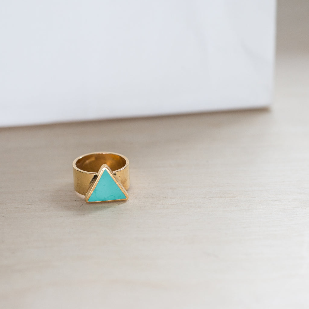 Ready Made Triangle Turquoise Ring (size 6 1/2)