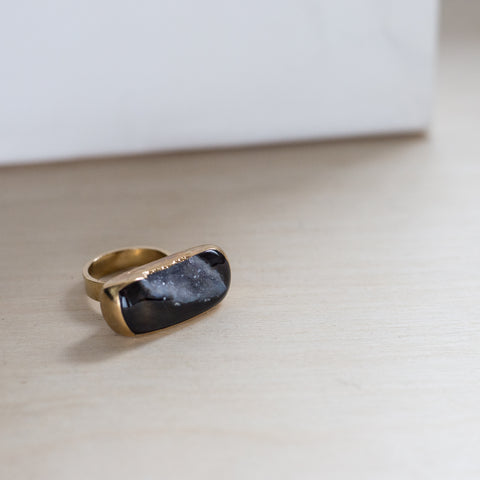 Ready Made Organic Black Agate Druzy (size 7 1/2)