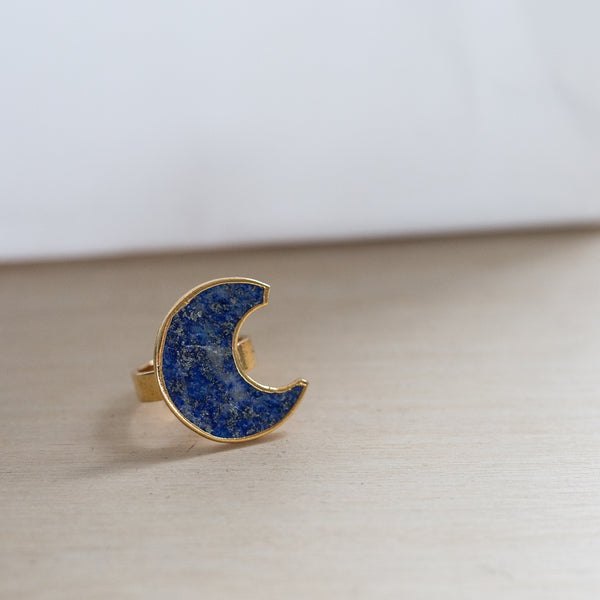 Ready Made Lapis Moon Ring (size 7)