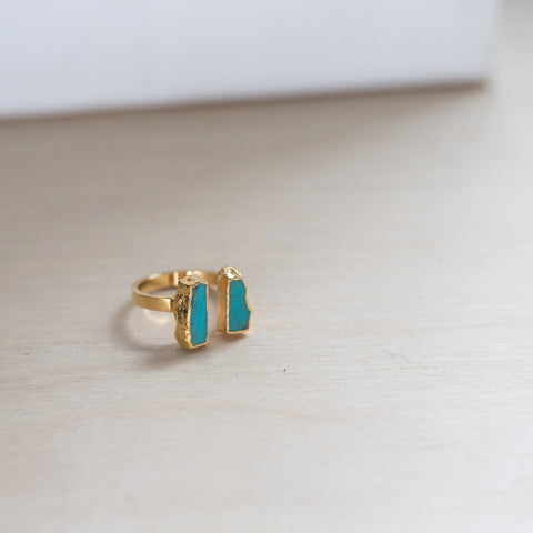 Ready Made Double Turquoise Bar Ring ( adjustable)