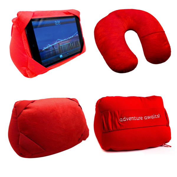 Red Convertible Travel Pillow / IPAD Stand