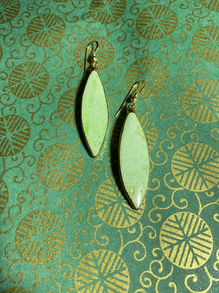 Lime Green Turquoise Marquis earrings. Stones are 1.5 inches long.  Lightweight and great for everyday wear.