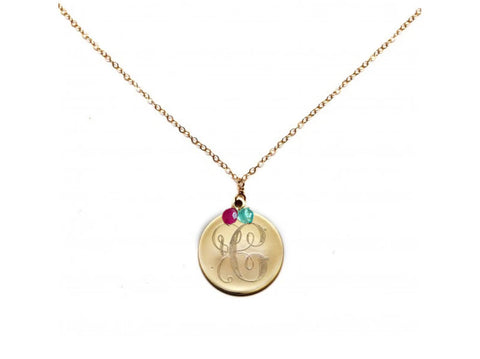 The perfect gift for your sister, daughter or anyone if your family.  This initial necklace comes with your choice of initial and up to four birthstone choices.  Comes in gold and silver on a 18 inch chain.  The letter on the necklace is hand engraved in a delicate fancy cursive font.