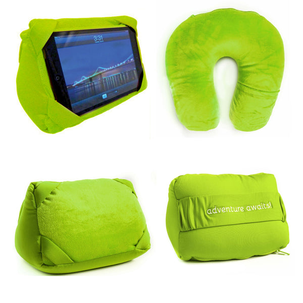 Green Convertible Travel Headrest Pillow / IPAD Stand
