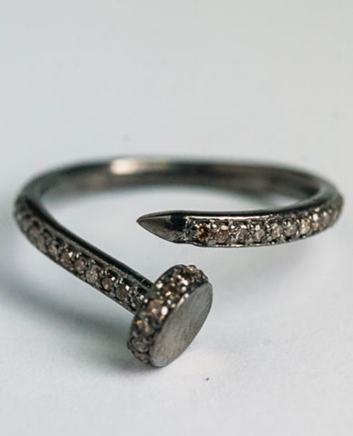 Diamond and black rhodium nail ring
