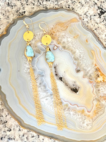 Larimar dangle earrings