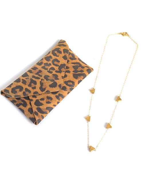 Leather Leopard credit card wallet & Gold Triangle Necklace