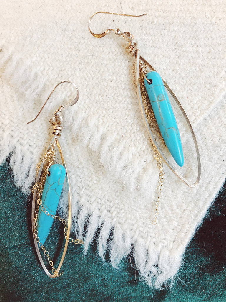 Turquoise hoop earrings 2 inches long