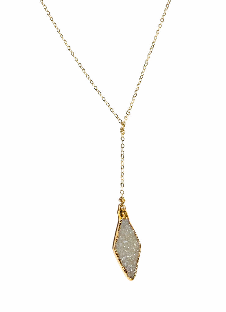 Grey druzy Diamond Y necklace