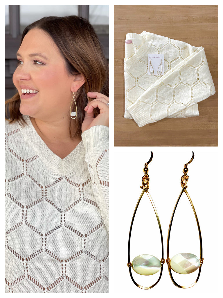 Elizabeth & West Tunic Sweater + Mother of Pearl Earrings