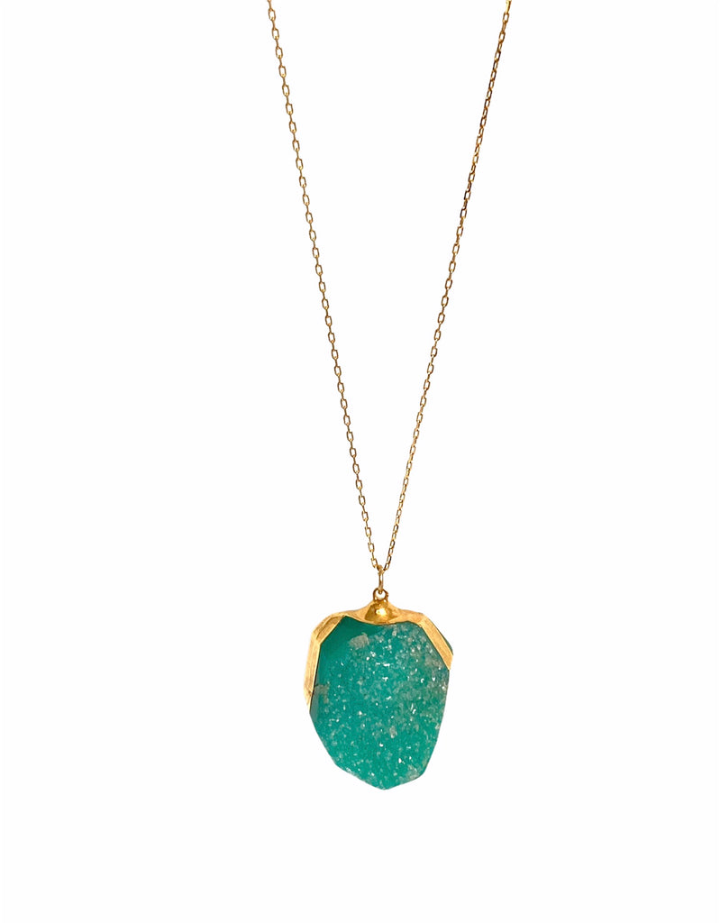 Green druzy long necklace