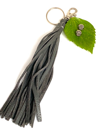 Grey leather tassel keychain & druzy studs