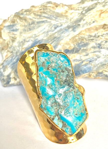 Turquoise Tall cigar band ring