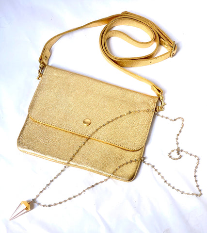 Gold Leather Purse and Labradorite Necklace
