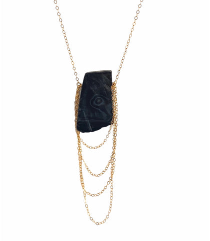 Black agate chain cascade necklace