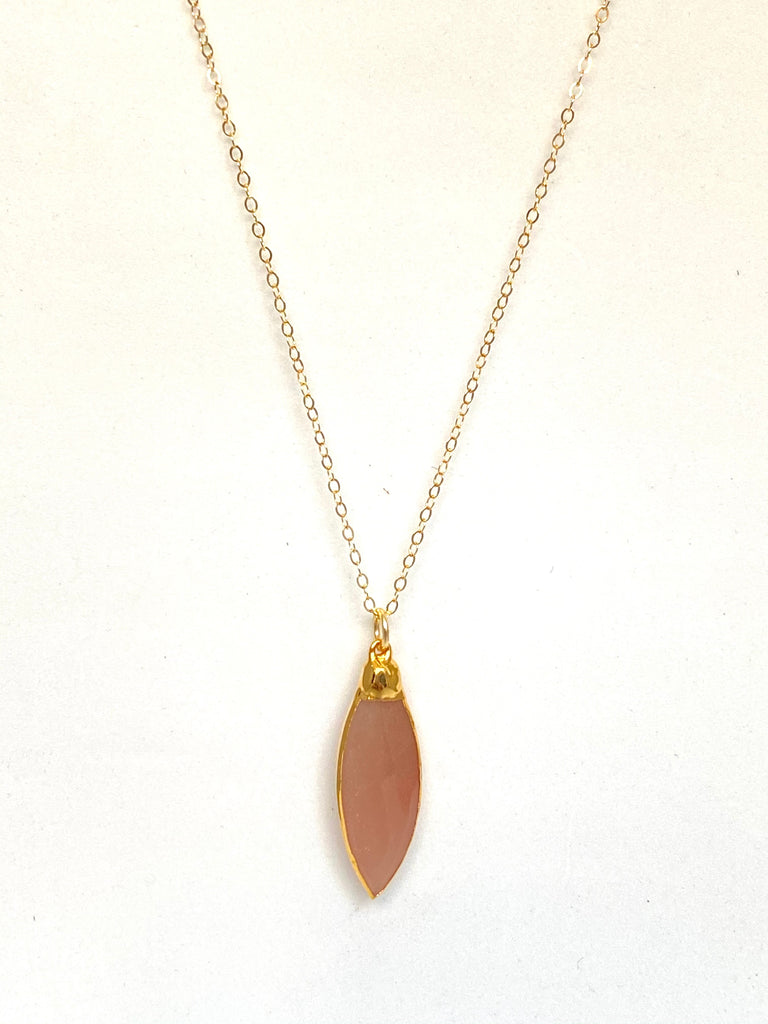 Peach moonstone pendant necklace