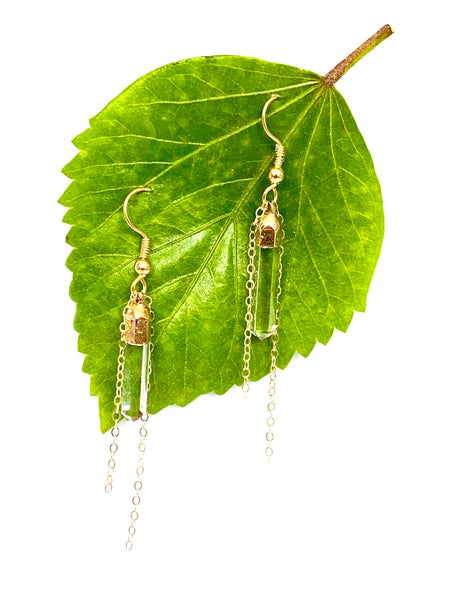 Quartz spear & chain dangle gold earrings