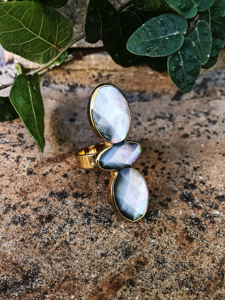 Mother of pearl stack oval gold ring (size 8)