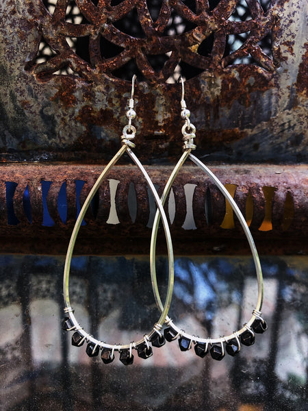 Sliver hoop earrings with Pyrite stone