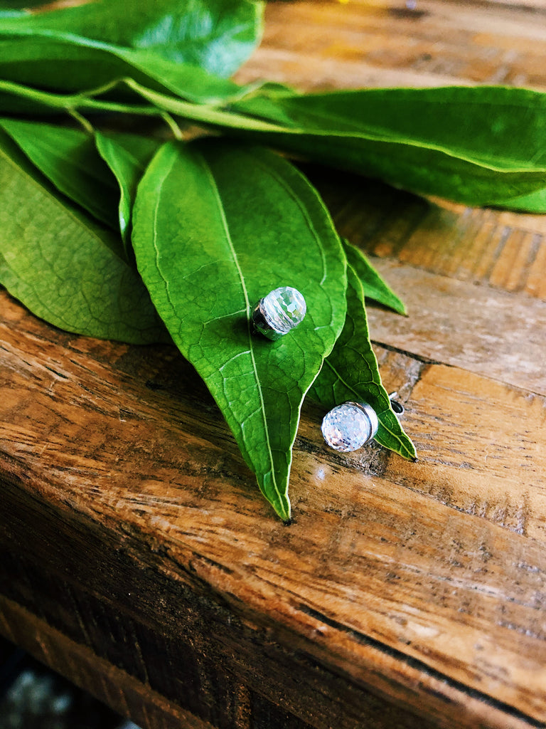 Quartz ball sterling stud earrings