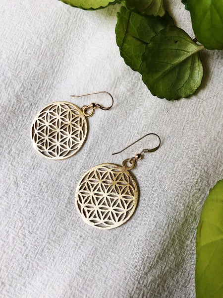 Ornate woven gold earrings