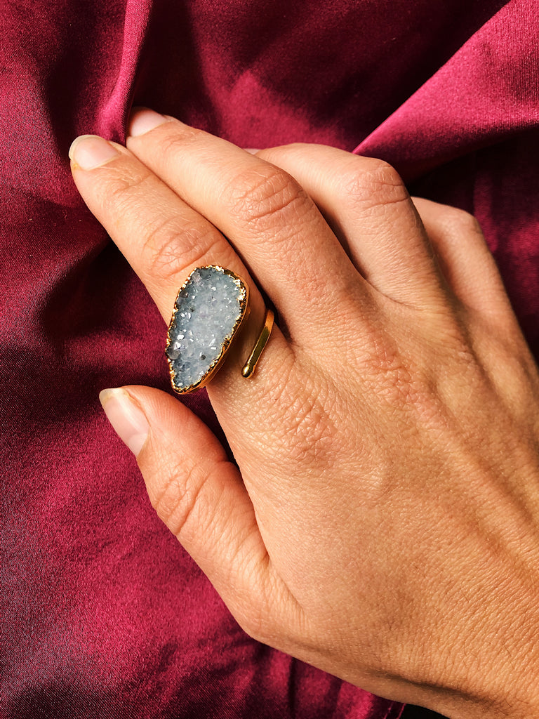 Light blue druzy hammered band ring size 8