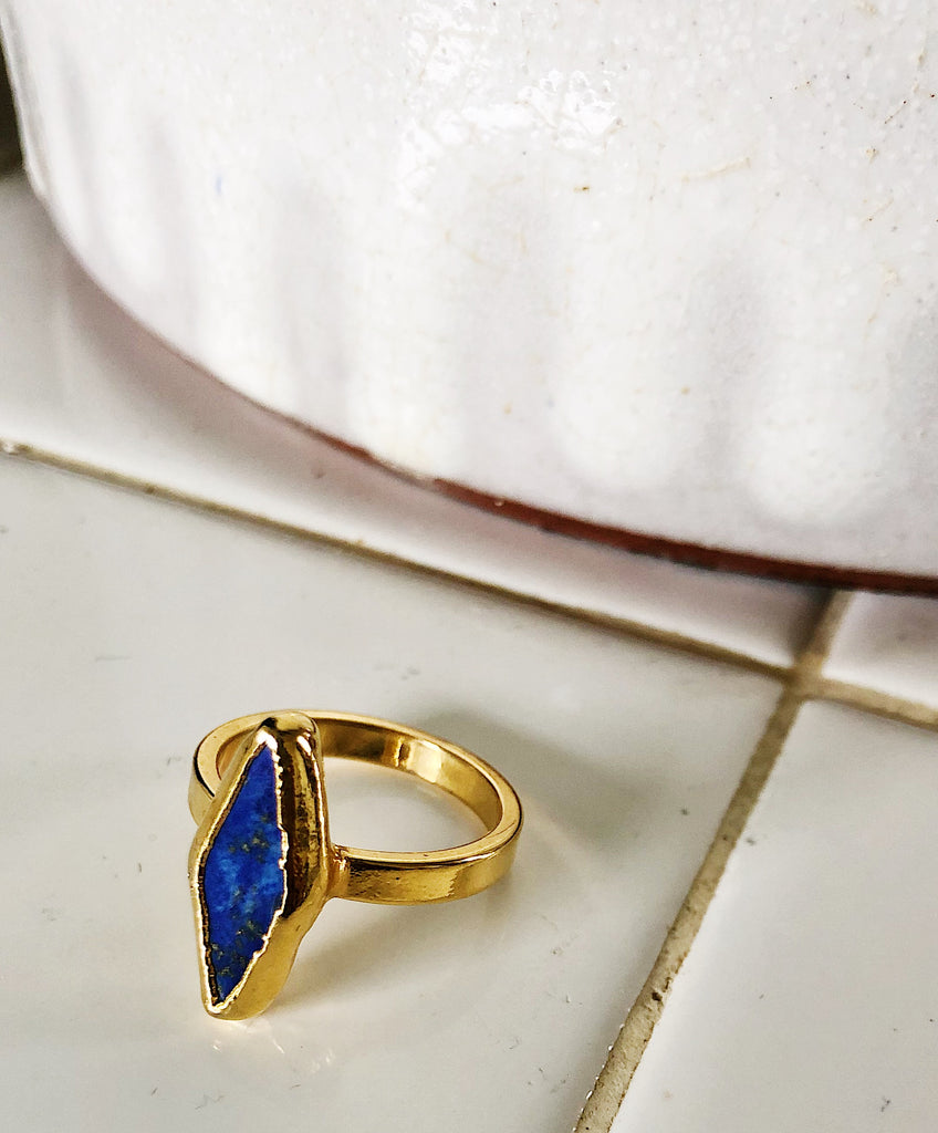 Lapis Marquis shaped ring size 7.5