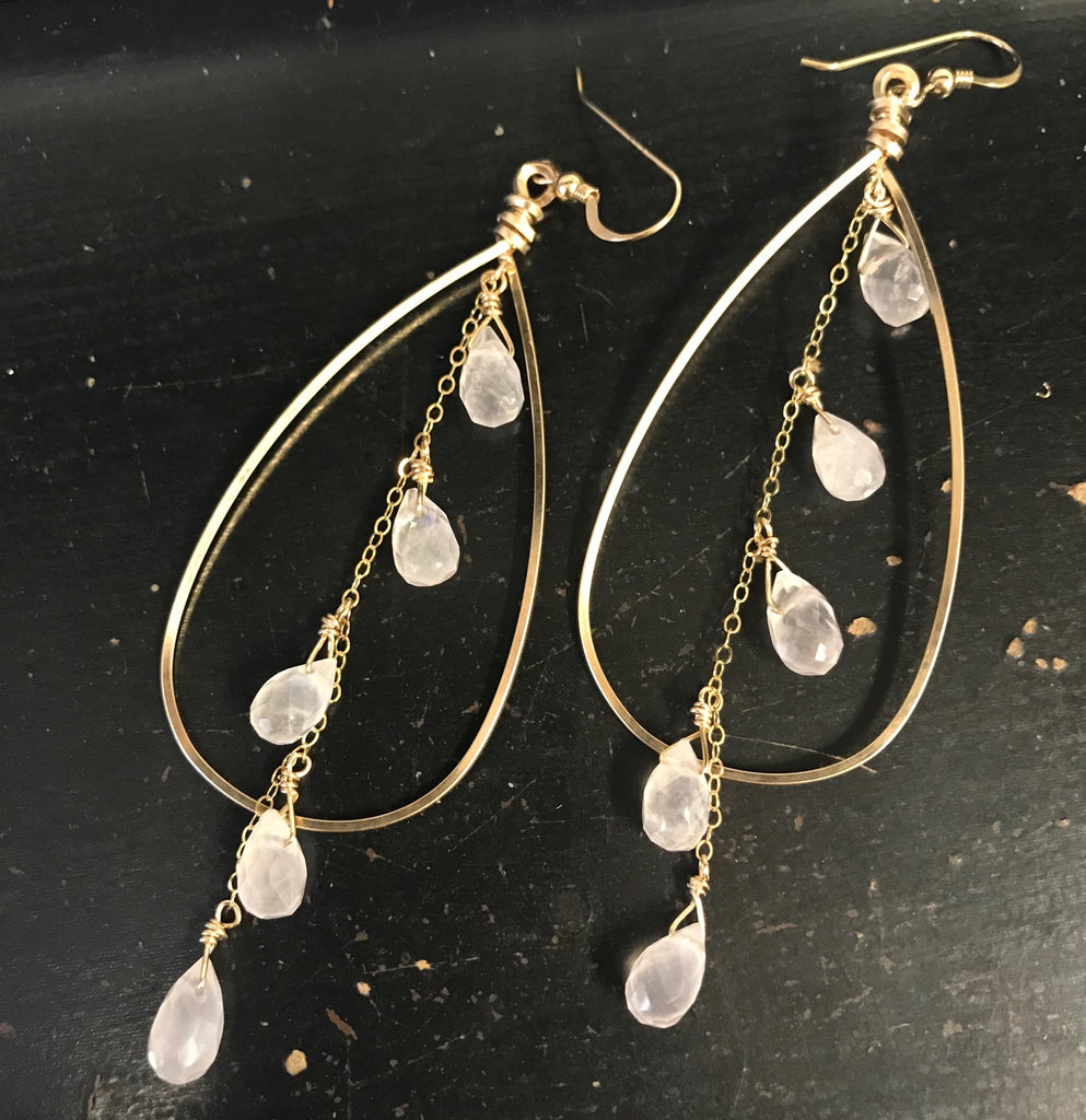 Gold Large hoop with Rose Quartz dangle earrings