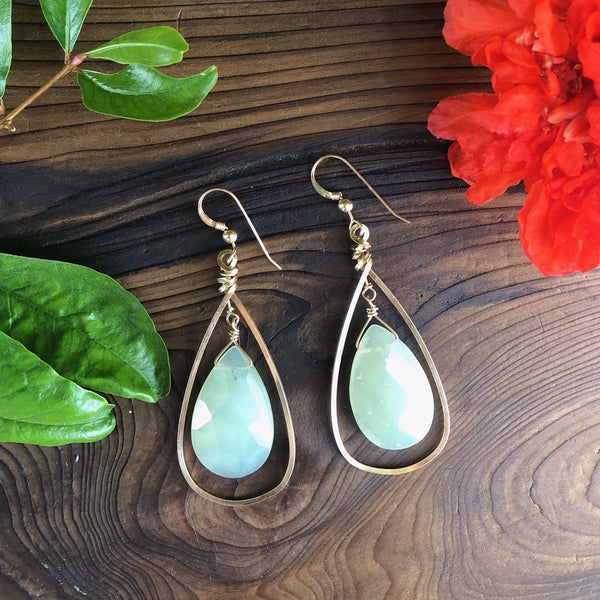 Green Jade with Gold Hoop Earrings