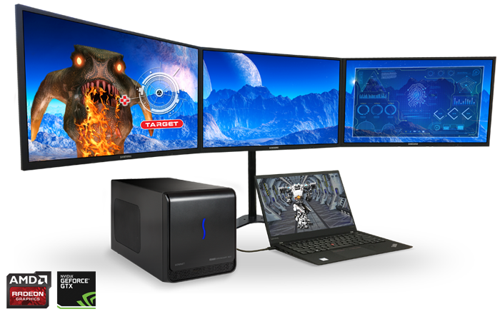 eGFX Breakaway Box with 3 Monitors