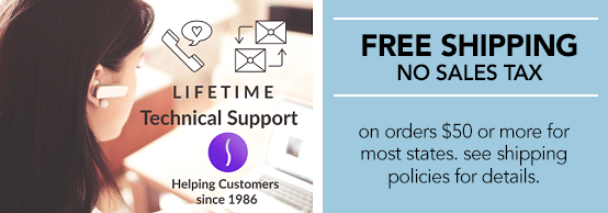 Free Lifetime Tech Support & Shipping Policies Logos