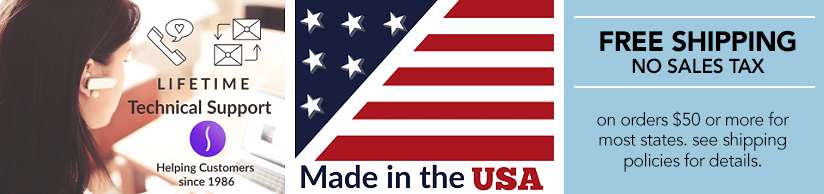 Free Lifetime Tech Support, Made in the USA & Shipping Policies Logos