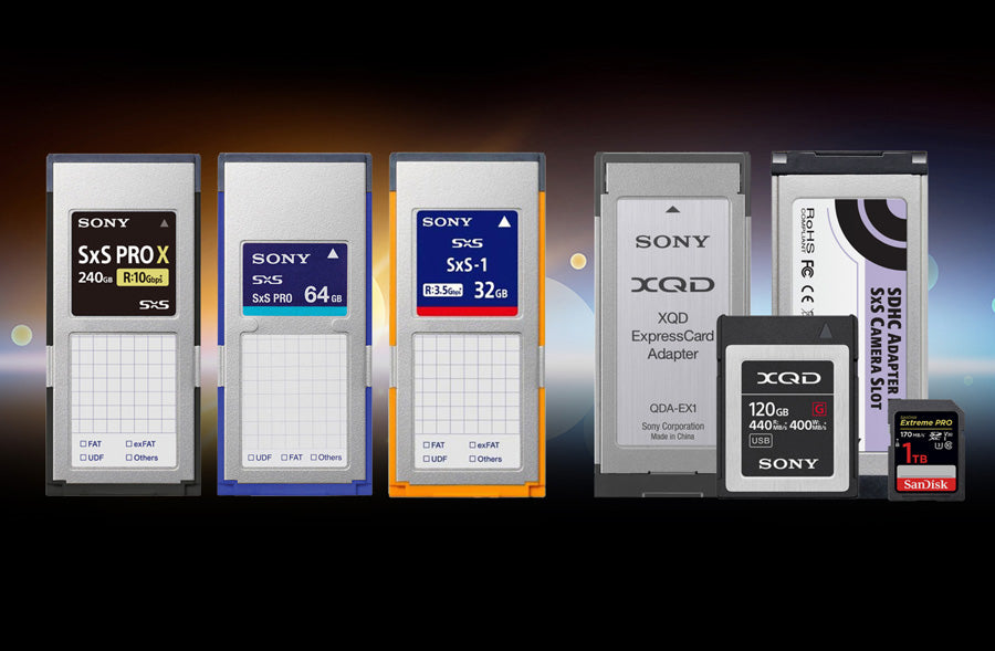 SxS Media Cards, XQD Adapter with XQD Card and SD Adapter with SD Card