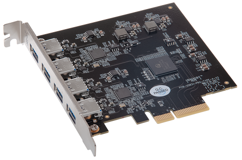 Allegro Pro Type A 4-port USB 3.2 PCIe card with four 10Gbps ports, dual controllers & USB charging
