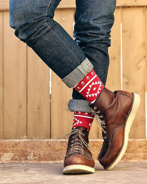 Red Aztec Society Socks