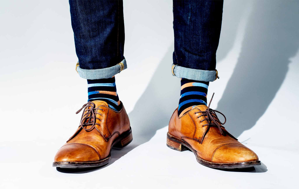 Colorful Men's Socks With Brown Shoes