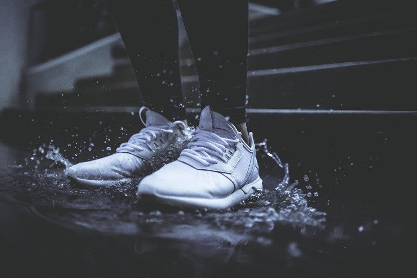 White Sneakers in Rain