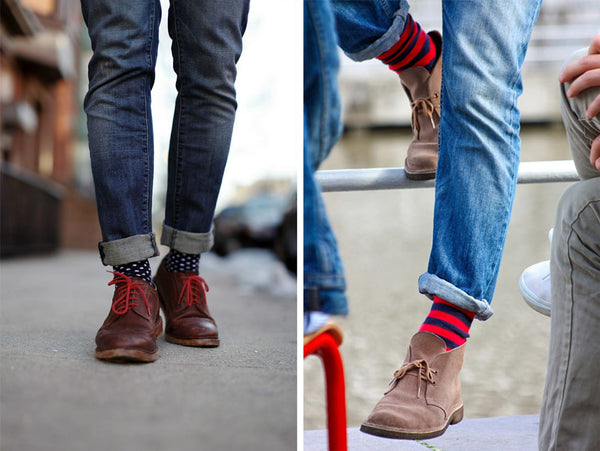 color pattern socks with jeans