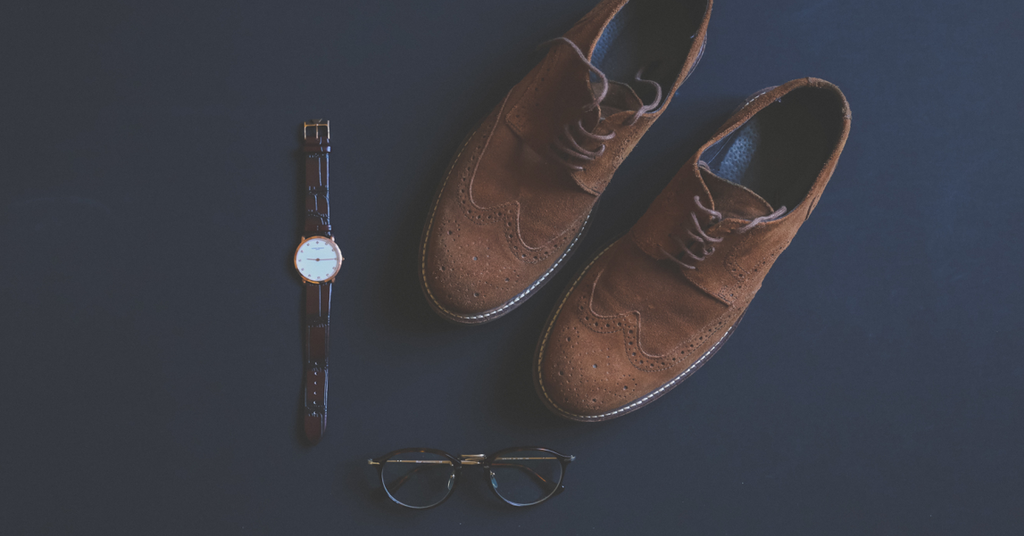 Brown shoes, watch and glasses