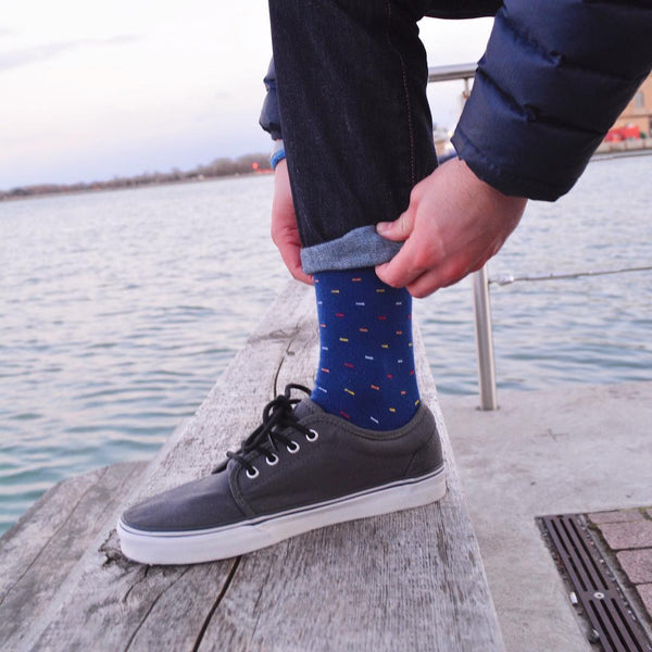 blue red color socks jeans