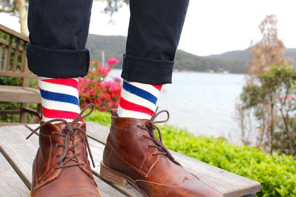 red and blue color socks to wear with jeans